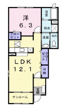 物件番号: 1110309002 シエル黒瀬Ⅰ  富山市黒瀬北町1丁目 2LDK アパート 間取り図