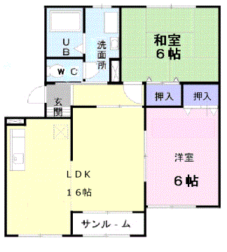 物件番号: 1110309005 ノーヴァⅠ  富山市富岡町 2LDK アパート 間取り図