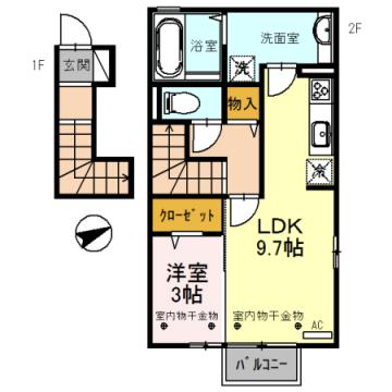 物件番号: 1110309028 D-room中市1丁目  富山市中市1丁目 1LDK アパート 間取り図