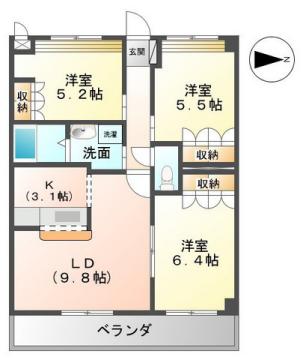 物件番号: 1110309051 Mt.View大久保  富山市下大久保 3LDK アパート 間取り図
