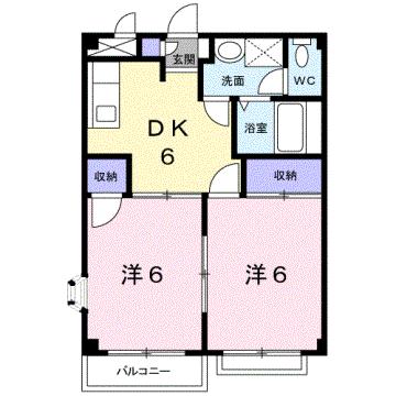 物件番号: 1110309054 エルドラードⅠ  富山市赤田 2DK アパート 間取り図