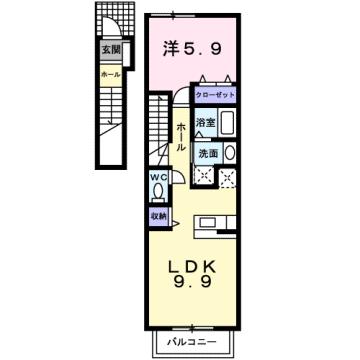 物件番号: 1110309060 ゼファーⅢ  富山市上大久保 1LDK アパート 間取り図