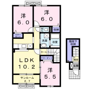 物件番号: 1110309061 ニューシティ下堀Ⅱ  富山市下堀 3LDK アパート 間取り図