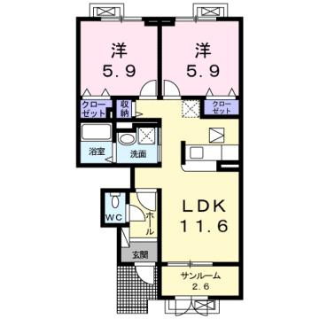 物件番号: 1110309071 グロース フリーデ  富山市下堀 2LDK アパート 間取り図
