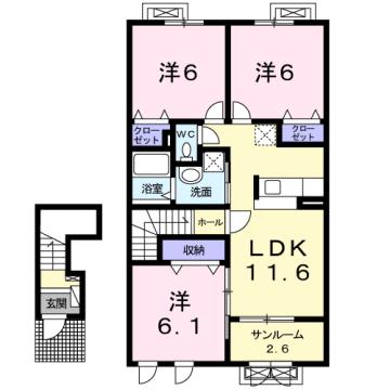 物件番号: 1110309074 グロース フリーデ  富山市下堀 3LDK アパート 間取り図