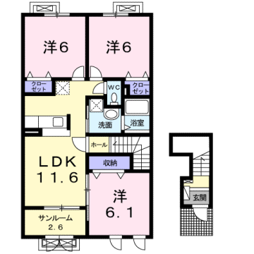 物件番号: 1110309075 グロース フリーデ  富山市下堀 3LDK アパート 間取り図