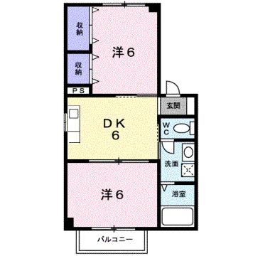 物件番号: 1110309078 ゴールデンⅠA  富山市中田町1丁目 2DK アパート 間取り図