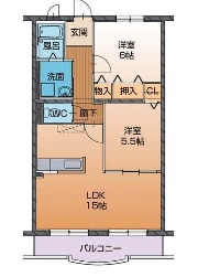 物件番号: 1110309127 ハートフルタウン桜  富山市山室 2LDK マンション 間取り図