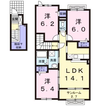 物件番号: 1110309138 アネシス・ルナA  富山市本郷町 3LDK アパート 間取り図