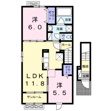 物件番号: 1110309144 エスペランス・KⅡ  富山市萩原 2LDK アパート 間取り図