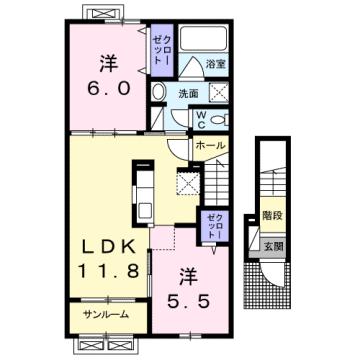 物件番号: 1110309145 エスペランス・KⅡ  富山市萩原 2LDK アパート 間取り図