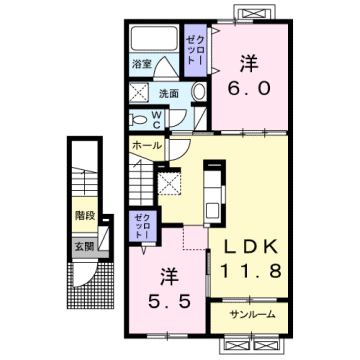 物件番号: 1110309146 エスペランス・KⅡ  富山市萩原 2LDK アパート 間取り図
