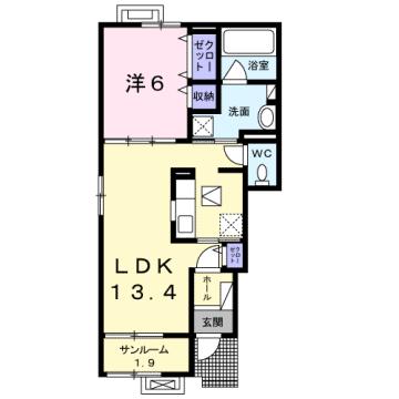 物件番号: 1110309150 グランリーオ・R Ⅰ  富山市上二杉 1LDK アパート 間取り図