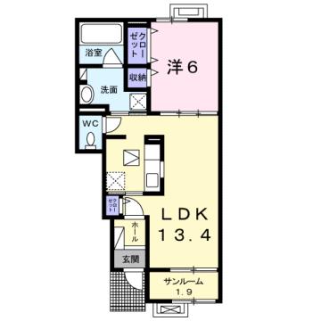 物件番号: 1110309152 グランリーオ・R Ⅰ  富山市上二杉 1LDK アパート 間取り図