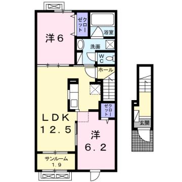 物件番号: 1110309155 グランリーオ・R Ⅰ  富山市上二杉 2LDK アパート 間取り図