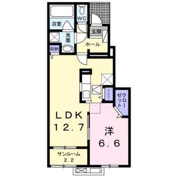 物件番号: 1110309159 グランリーオ・R Ⅱ  富山市上二杉 1LDK アパート 間取り図