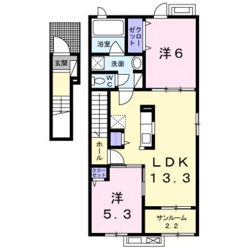 物件番号: 1110309161 グランリーオ・R Ⅱ  富山市上二杉 2LDK アパート 間取り図