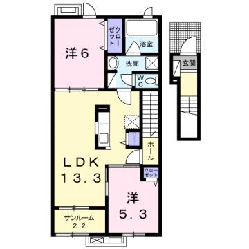 物件番号: 1110309169 グランリーオ・R Ⅲ  富山市上二杉 2LDK アパート 間取り図