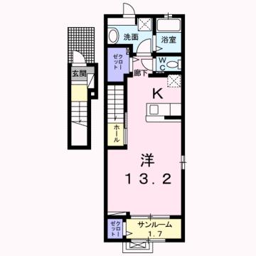 物件番号: 1110309174 ケルンⅤ  富山市新庄町4丁目 1K アパート 間取り図