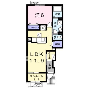 物件番号: 1110309177 ケルンⅥ  富山市新庄町4丁目 1LDK アパート 間取り図