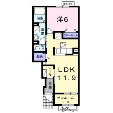 物件番号: 1110309179 ケルンⅥ  富山市新庄町4丁目 1LDK アパート 間取り図