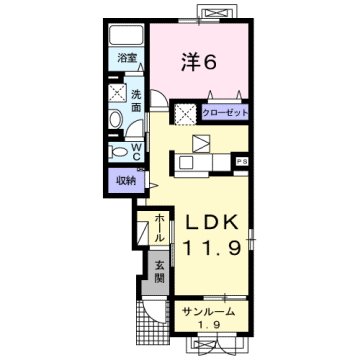 物件番号: 1110309180 ケルンⅥ  富山市新庄町4丁目 1LDK アパート 間取り図