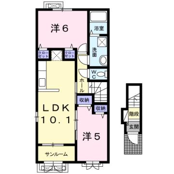物件番号: 1110309181 ケルンⅥ  富山市新庄町4丁目 2LDK アパート 間取り図