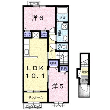 物件番号: 1110309182 ケルンⅥ  富山市新庄町4丁目 2LDK アパート 間取り図