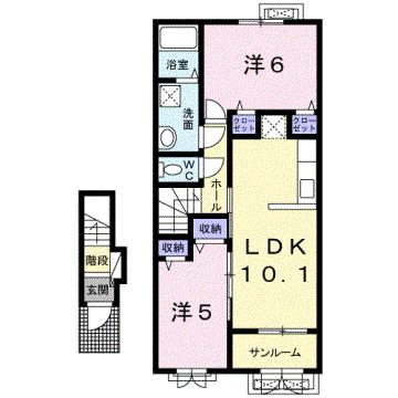 物件番号: 1110309183 ケルンⅥ  富山市新庄町4丁目 2LDK アパート 間取り図