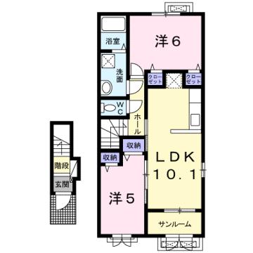 物件番号: 1110309184 ケルンⅥ  富山市新庄町4丁目 2LDK アパート 間取り図