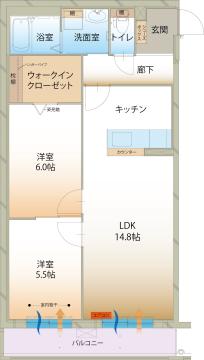 物件番号: 1110309190 ラ メゾン ミモザⅡ  富山市町村1丁目 2LDK マンション 間取り図