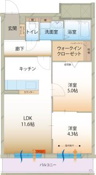 物件番号: 1110309192 ラ メゾン ミモザⅡ  富山市町村1丁目 2LDK マンション 間取り図