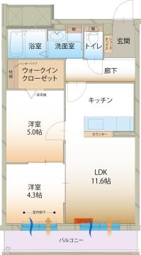 物件番号: 1110309193 ラ メゾン ミモザⅡ  富山市町村1丁目 2LDK マンション 間取り図