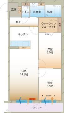 物件番号: 1110309195 ラ メゾン ミモザⅡ  富山市町村1丁目 2LDK マンション 間取り図