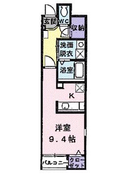 物件番号: 1110309213 サニーパティオⅡ  富山市長江4丁目 1K アパート 間取り図