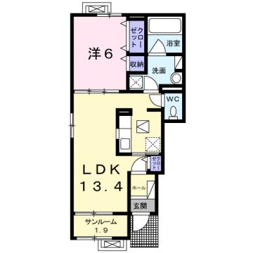 物件番号: 1110309229 シェーナ ドゥ  富山市小杉 1LDK アパート 間取り図