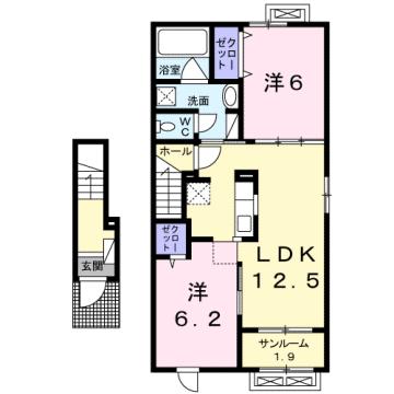 物件番号: 1110309236 シェーナ ドゥ  富山市小杉 2LDK アパート 間取り図