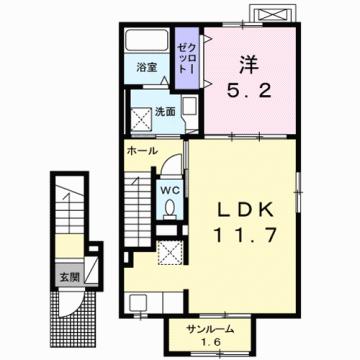 物件番号: 1110309248 シャルマンⅣ  富山市山室荒屋 1LDK アパート 間取り図