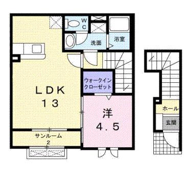 物件番号: 1110309249 シャルマンⅡ  富山市山室荒屋 1LDK アパート 間取り図