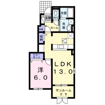 物件番号: 1110309250 ドゥ・ステージアⅦ  富山市小杉 1LDK アパート 間取り図