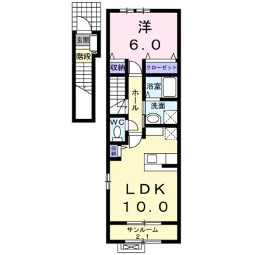 物件番号: 1110309278 ベルフォールⅣ  富山市常盤台 1LDK アパート 間取り図