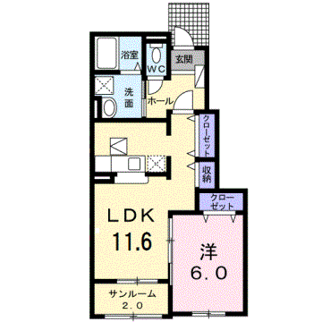物件番号: 1110309305 カレントⅡ  富山市婦中町袋 1LDK アパート 間取り図